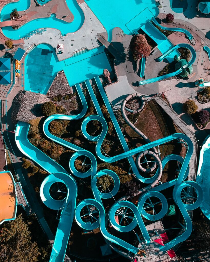 drone shot of water park