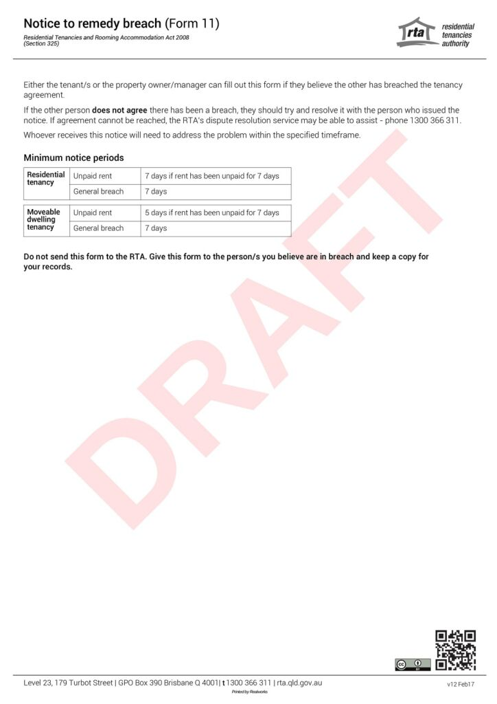 Sample Form 11 notice to remedy breach second page