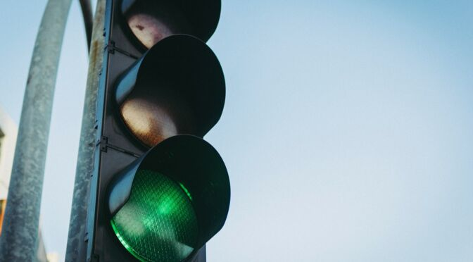traffic light with green light on