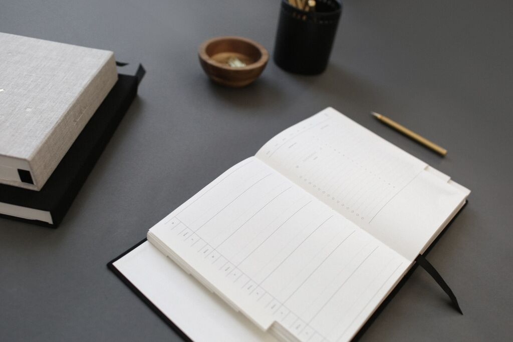 open daily planner on a table