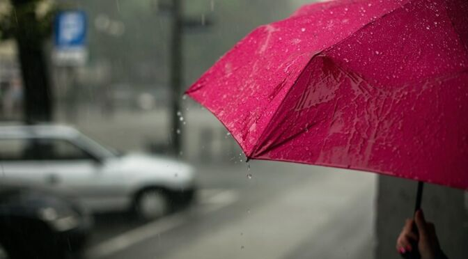 person holds umbrella on rainy day